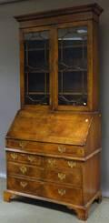 Georgianstyle Glazed and Inlaid Burlwood Veneer Slantlid DeskBookcase