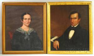 Two 19th Century American School Oil on Canvas Portraits of a Woman and a Gentleman