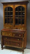 Georgian Glazed Mahogany and Mahogany Veneer Writing DeskBookcase
