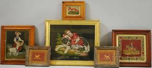 Six Assorted Framed Victorian Wool Needlework Pictures of Children and Animals