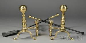 Pair of Iron and Brass Belted Balltop Andirons and Two Fire Tools