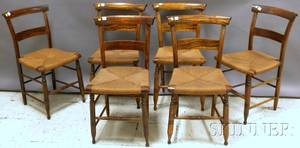 Set of Six Late Federal Rosewood Grained Side Chairs and a Slatback Armchair