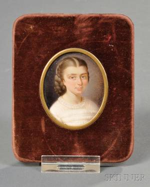 American School 19th Century Portrait Miniature of a Girl in a White Dress