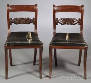Pair of Mahogany Carved Grecian Side Chairs