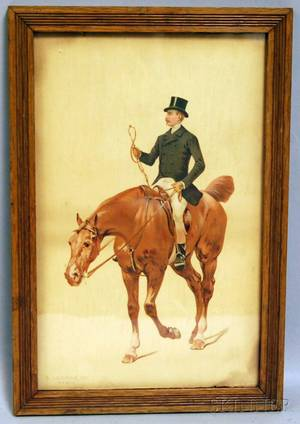 Framed 19th Century Chromolithograph of a Gentleman on Horseback and a Carved Ivoryhandled Buggy Whip