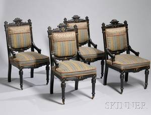 Set of Four Victorian Eastlaketype Upholstered Parcelgilt Ebonized Carved Walnut Parlor Side Chairs