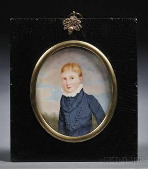 British School 19th Century Portrait Miniature of Master Russ in a Landscape