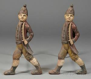 Polychromepainted Cast Iron Hessian Soldier Andirons