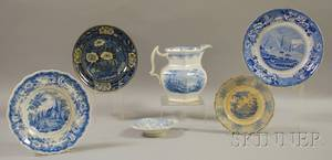 Six Pieces of Assorted English Light Blue Transferdecorated Staffordshire Tableware