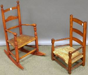 Childs Slatback Armrocker with Splint Seat and Slatback Armchair with Rush Seat