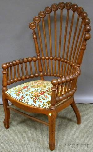 Hunzingertype Victorian Aesthetic Upholstered Turned Oak Lollipop Armchair
