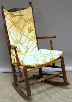 Maple Slatback Hoop Skirt Rocking Armchair with Rush Seat