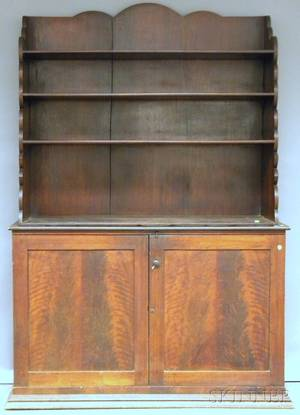Empire Mahogany and Walnut Stepback Cupboard
