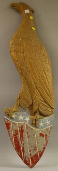 Polychromepainted Cast Metal American Eagle and Shield Plaque