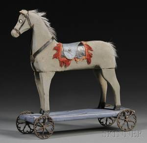 Folk Carved and Painted Wooden Horse Pulltoy