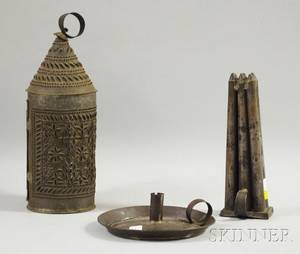 Punched Tin Lantern a Tin Sixcandle Mold and a Chamberstick