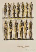 Henry Moore British 18981986 Thirteen Standing Figures