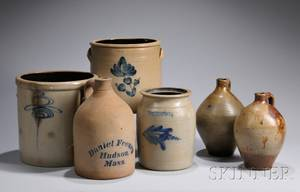 Cobaltdecorated Stoneware Jug and Two Crocks and a Jar