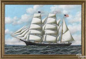 American oil on paper ship portrait mid 19th c