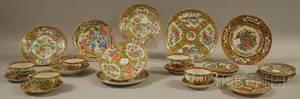 Twentyfive Pieces of Chinese Export Porcelain Rose Medallion Pattern Tableware