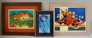 Three Color Lithographs After Marc Chagall RussianFrench 18871985 Musician