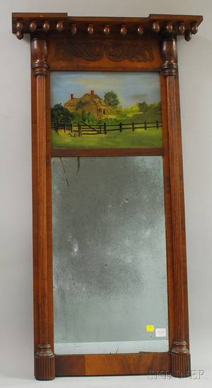 Federal Mahogany and Mahogany Veneer Tabernacle Mirror with Eglomise Glass Tablet