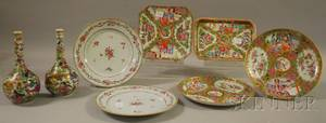 Five Chinese Export Porcelain Plates a Tray and a Pair of Bottles