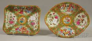 Two Chinese Export Porcelain Rose Medallion Pattern Shaped Serving Dishes