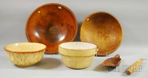 Six Assorted Wood and Ceramic Kitchen Items