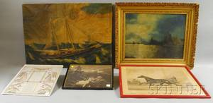 Five Assorted Unframed and Framed Works