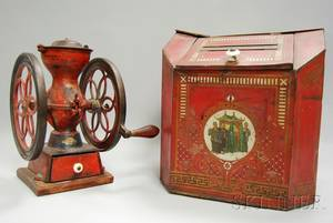 Enterprise Mfg No 2 Painted Cast Iron Coffee Mill and a Painted and Stenciled Tin Countertop Tea Bin
