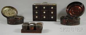 Spice Chest and Three Metal Spice Canister Sets