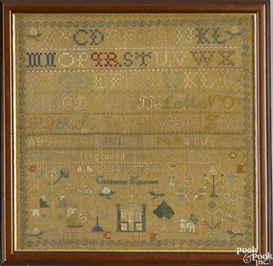 Pennsylvania silk on linen needlework sampler dated 1840
