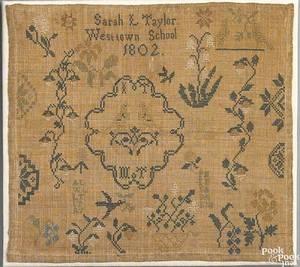 Pennsylvania silk on linen sampler dated 1802