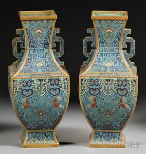 Pair of Giltbronze Cloisonne Vases