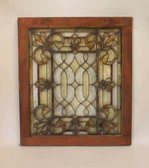 L 19thE 20th C Stained  Leaded Glass Window