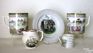 Group of transferware to include 2 Railway decorated mugs