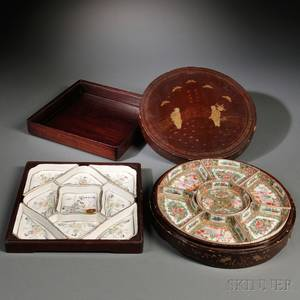 Two Sets of Sweetmeat Dishes in Wood Boxes