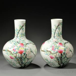 Pair of Large Famille Rose Vases Tianqiuping