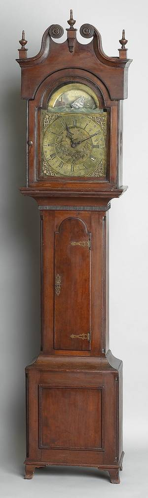 Pennsylvania Chippendale cherry tall case clock ca 1800