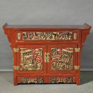 Red and Gilt Lacquer Altar Cabinet
