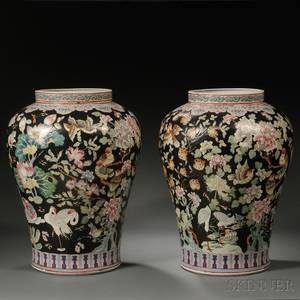 Pair of Large Famille Noir Vases