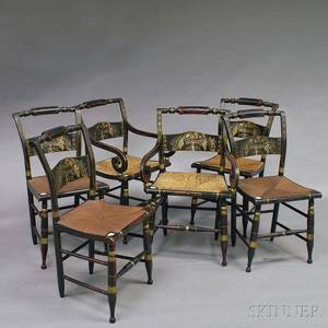 Set of Six Stencildecorated Rushseat Hitchcock Chairs