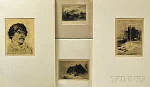 Four Unframed Late 19th Century Etchings Percy Edward Percy Moran American 18621935 Cattle in a Landscape