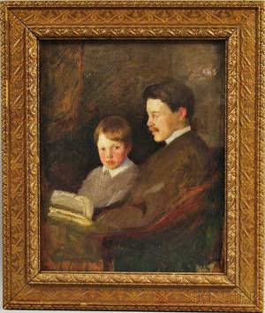 Attributed to Gardner Cox American 19061988 Father and Son Sharing a Story