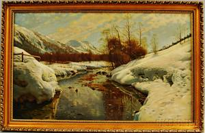 American School 20th Century Winter Landscape with Stream