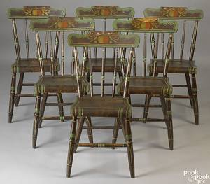 Set of 6 Pennsylvania painted dining chairs ca 1830