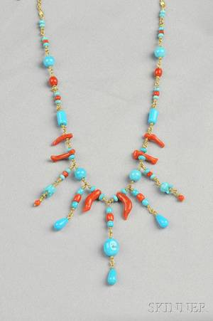18kt Gold Turquoise and Coral Bead Fringe Necklace Paul Morelli