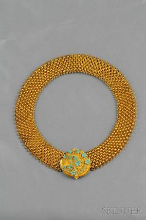 Antique 14kt Gold and Turquoise Necklace