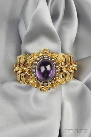 Antique 18kt Gold Amethyst and Diamond Bracelet